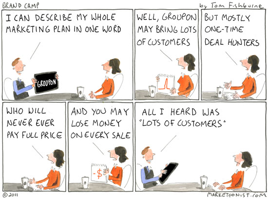social coupon bandwagon | Marketoonist | Tom Fishburne