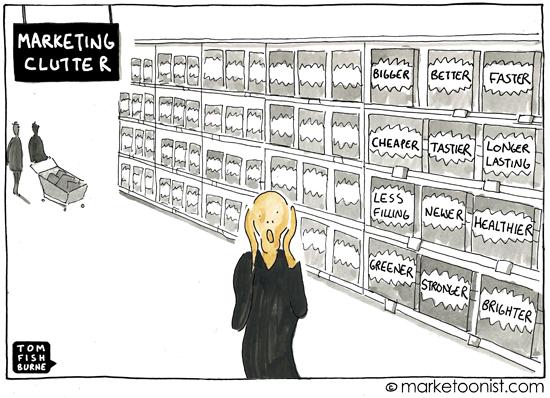 """""""marketing clutter"""" cartoon"""