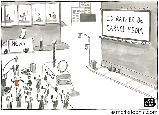 """Earned Media"" cartoon"