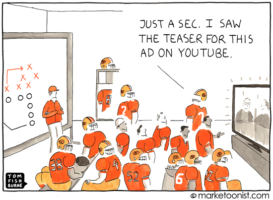 """Super Bowl Advertising"" cartoon"