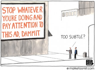 """Interruption Marketing"" cartoon"
