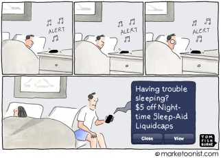 """Push Marketing"" cartoon"