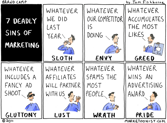 7 deadly sins of marketing cartoon marketoonist tom fishburne