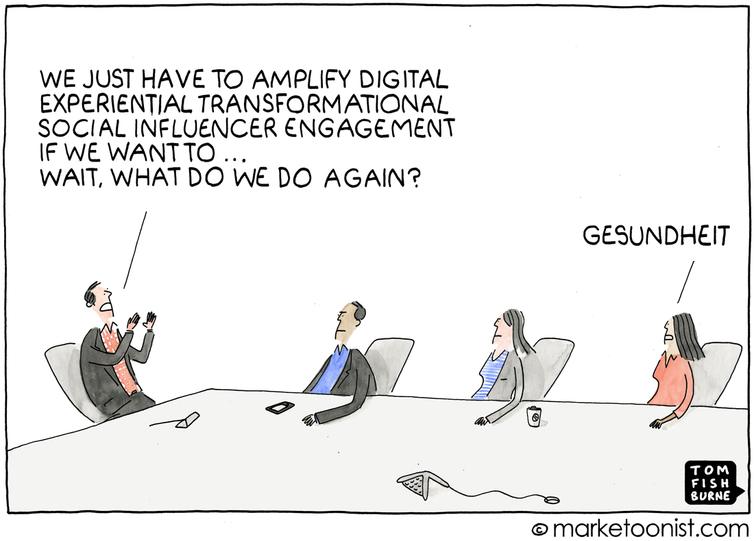 digital marketing buzzwords cartoon