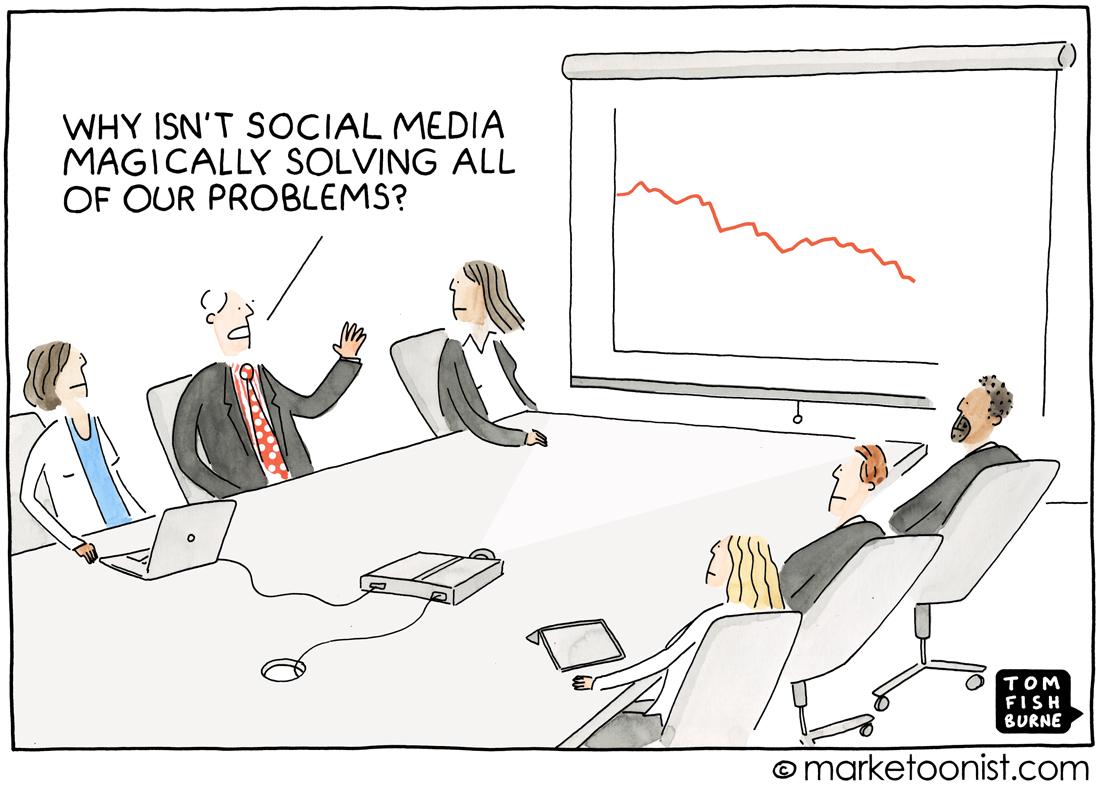 social marketing hype cartoon