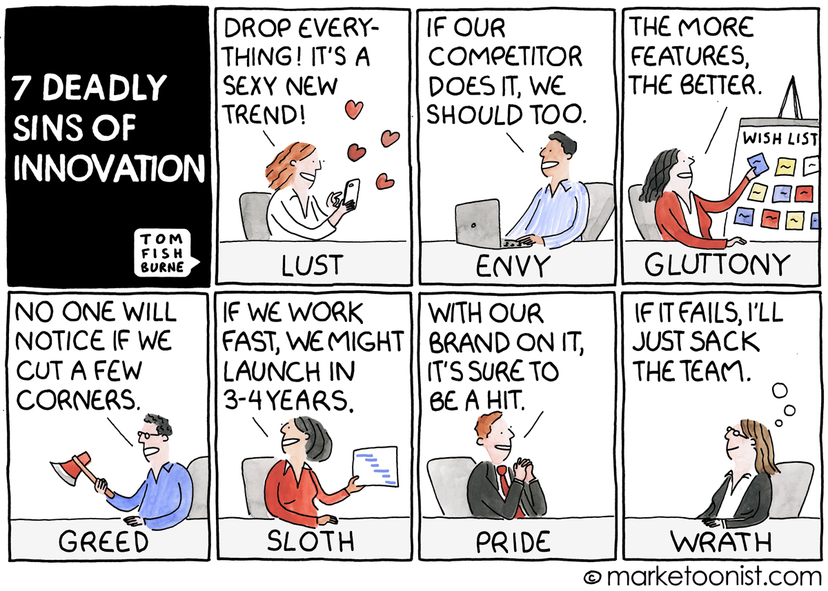 7 deadly sins of innovation cartoon marketoonist tom fishburne