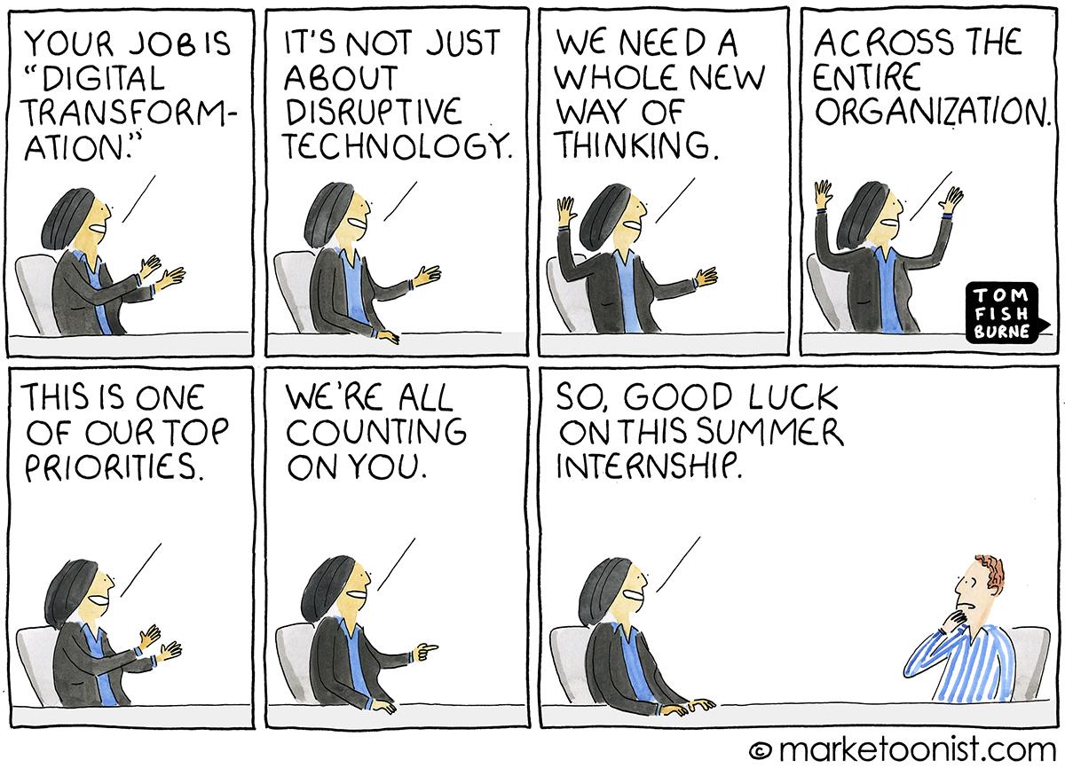 Digital Transformation cartoon | Marketoonist | Tom Fishburne