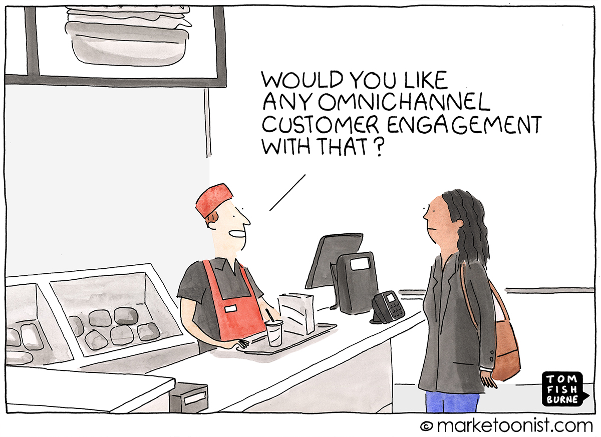 Omnichannel Customer Engagement cartoon