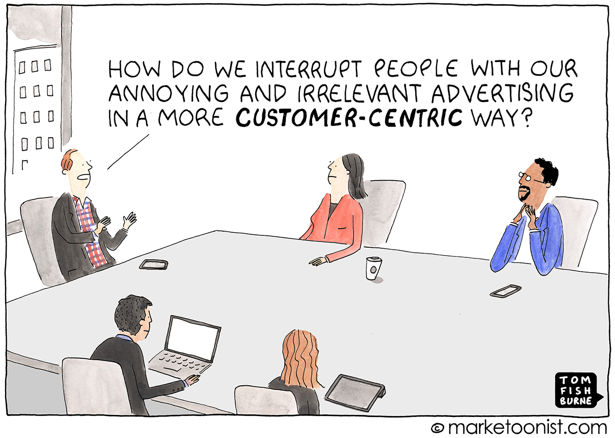 """Customer-Centric Culture"" cartoon"