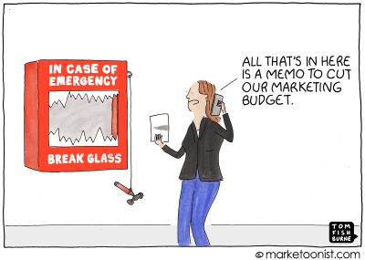 Marketing Budget Cut cartoon
