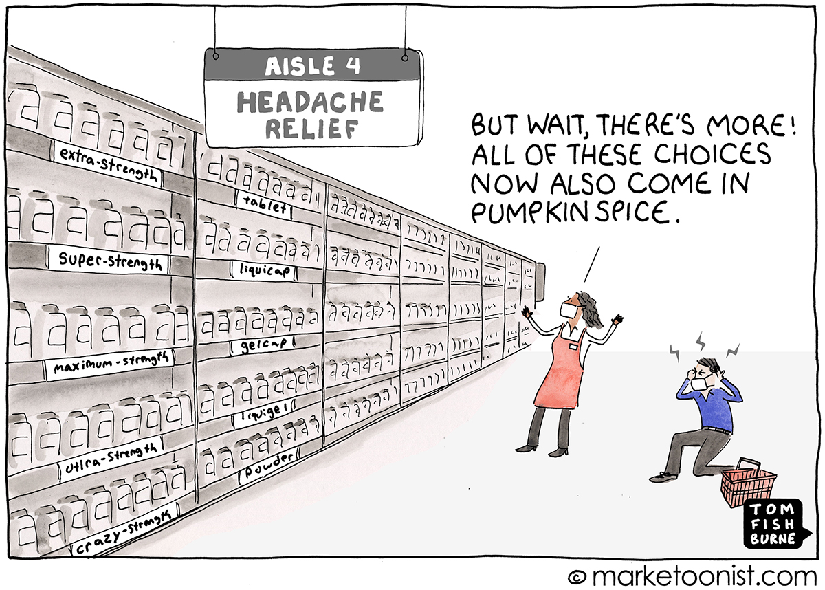 Product Choice Overload cartoon