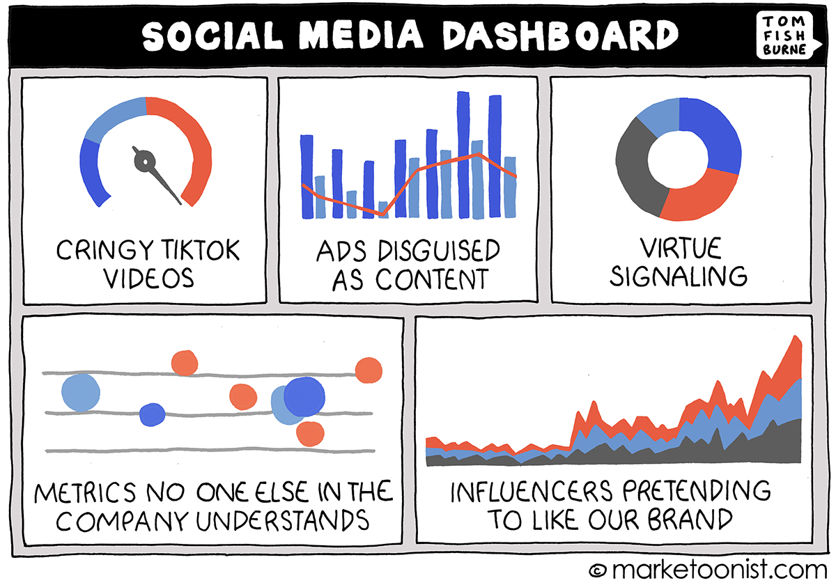 Social Media Dashboard cartoon