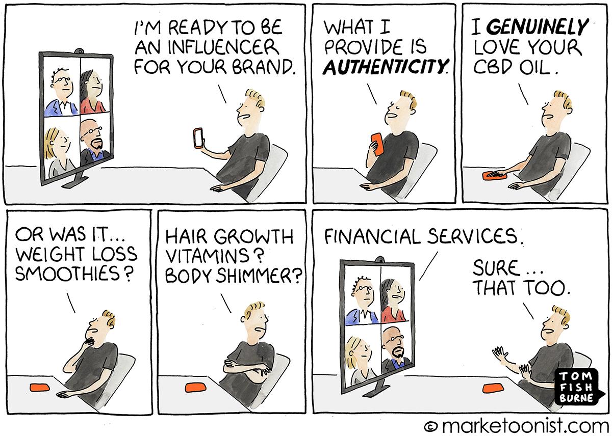 Influencer Marketing and Authenticity cartoon