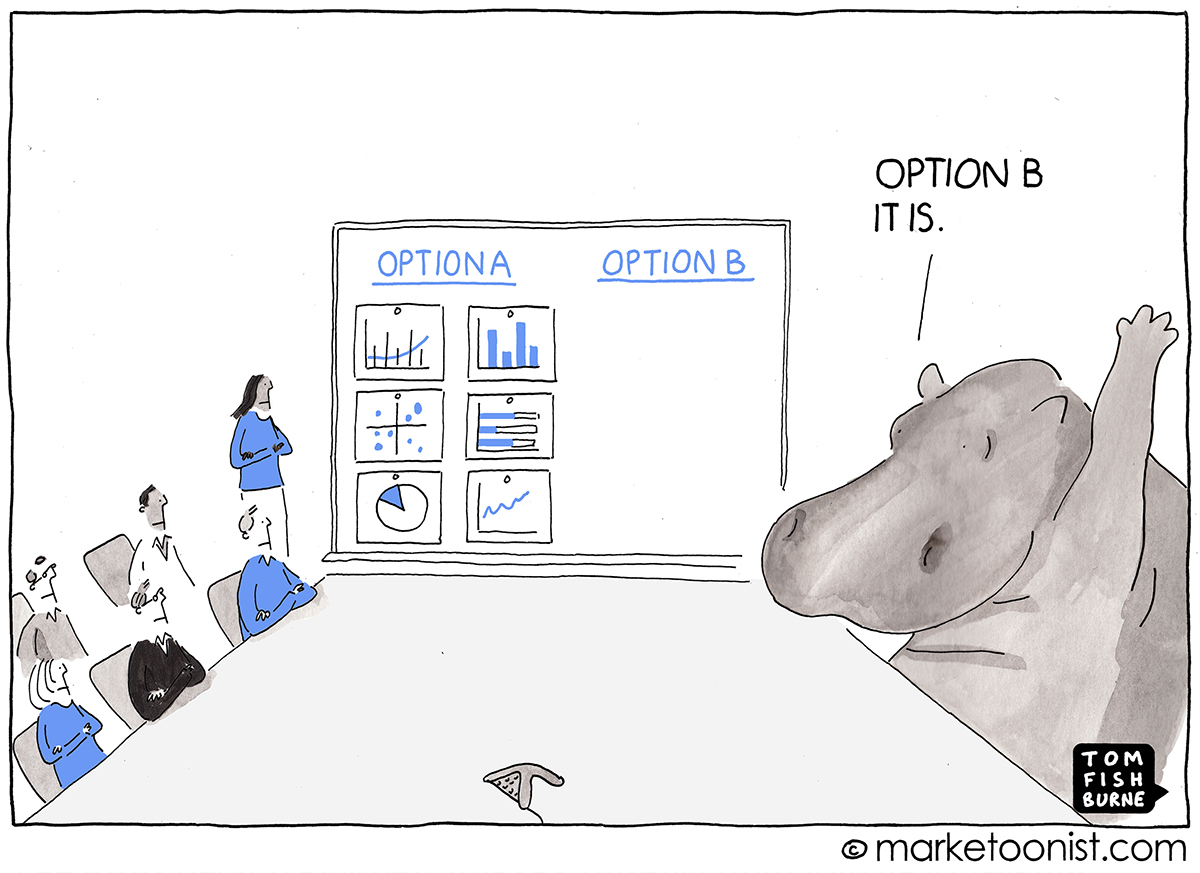 HiPPO: Highest Paid Person's Opinion cartoon
